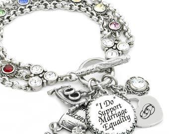 Gay Pride Jewelry, Marriage Equality Jewelry, Rainbow Bracelet, Gay Couples Jewelry, Rainbow Jewelry