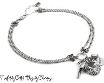 Choker Necklace, Personalized Silver Chain Choker, Picture Choker, Convert any necklace or bracelet to a adjustable choker