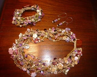 Island Paradise Set - Handmade Bead Crochet Necklace, Bracelet and Earrings in Shades of Purple, Pink, Yellow