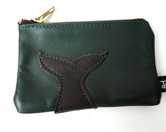 Nautical Green Leather Zipper Pouch - Whale Coin Purse - Whale Zipper Pouch - Whale Purse - Whale Pouch