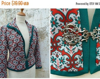 ON SALE Vintage 1970/70s Tyrol trachten Folk printed jersey jacket dirndl size S