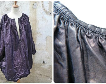 Antique 1890/1900s French Indigo glazed & glossy linen biaude / workwear / farmer shirt