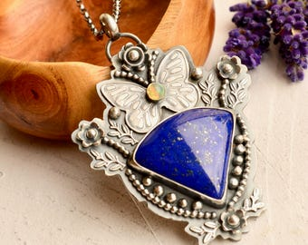 Handmade Stylish Lapis Lazuli Necklace, Silver Butterfly Necklace, Unique One of Kind Jewelry, Metalsmithed Jewelry