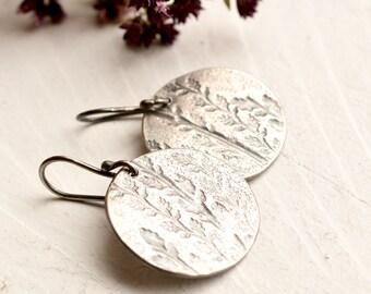 Relic Earrings- - Modern Rustic Silver Earrings, Silver Discs, Botanical Earrings, Unique Silver Earrings, Everyday Wear, Light Weight