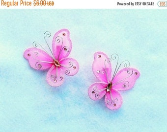 SUMMER SALE 20% OFF Set of 2 Butterfly Barrettes, Shocking Pink, Black, Red, LIght Blue, Light Pink, Purple, get a pair to match your tutu