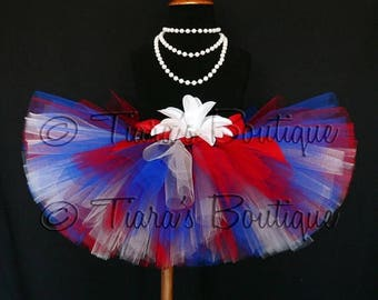 SUMMER SALE 20% OFF Patriotic Mix Tutu - red, white, and blue handmade tutu - custom sewn 8'' tutu - sizes Newborn to 5T - Perfect for 4th o