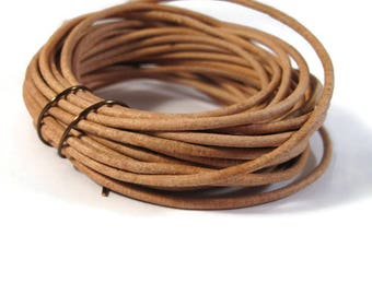 8 Feet of Natural Tan Leather Cord, 2mm Round Cord For Jewelry, Craft Supplies, Natural Light Brown Leather Cord (L-Mix33g)