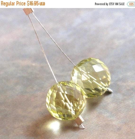 SALE 50% off - Lemon Quartz Beads, AAA Natural Gemstone Beads, Set of 2 Concave Cut Fancy Rounds, 9mm - 11mm, Loose Gemstone Beads (Pt-Lq2)