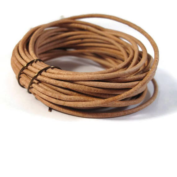 7 Feet of Natural Tan Leather Cord, 2mm Round Cord For Jewelry, Craft Supplies, Natural Light Brown Leather Cord (L-Mix15e)