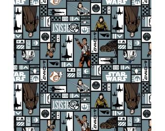 From Camelot Fabrics, Star Wars: the Last Jedi, Character Blocks on Grey, yard
