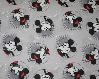 """Mickey Mouse and Minnie Mouse, """"SMILE Mickey"""" on grey, Yard"""