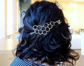 Large Brass Honeycomb Handmade Hair Bun Slide Pin with Dangling Bee Hair Twist Bun Pin