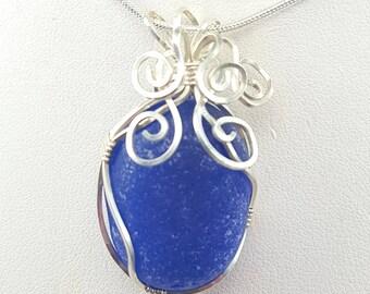 Sea Glass Necklace Sea Glass Jewelry Cobalt Blue Sea Glass Wire Wrapped Sea Glass Pendant Necklace Cobalt Sea Glass Jewelry N-379
