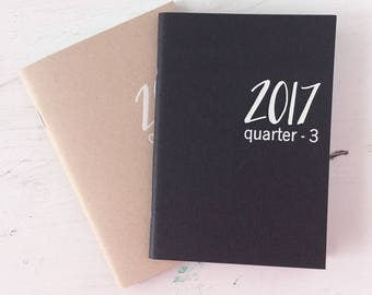 2017 mini weekly planners with choice of colors for covers | July 2017 to December 2017 | 3rd and 4th quarters