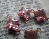Rose Pink Vintage Swarovski Square 8x8mm Glass Brass Ox Connector Drops Two Loops 4 Pcs