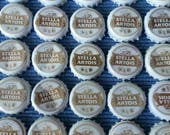 25 Used White and Gold Stella Artois Beer Bottle Caps