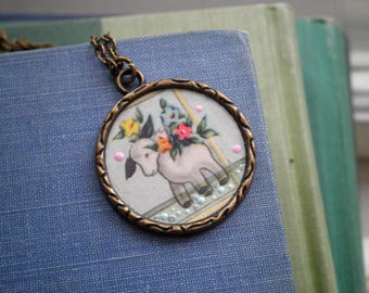 Little Lamb Planter Charm Necklace - Vintage Paper Ephemera Art Pendant - Retro Baby Lamb / Donkey Flower Pot Floral Jewelry Gift For Her