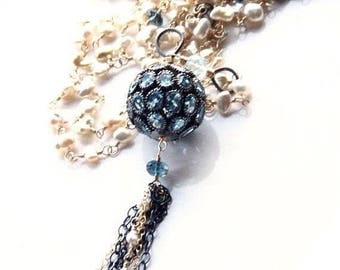 Statement Tassel Flapper Akoya Keshi and Blue Topaz Mixed Metal Pave Long Layering Wire Wrapped Necklace