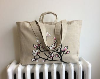 Magnolia Weekender Bag - Zipper Closure Tote in Linen and Canvas - Screenprinted