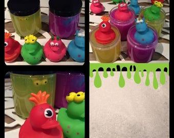 8 oz Monster Ducky Slime Bubble Bath Atomic Purple and Electric Yellow Ducks Kids Grape Or Lemon Mint