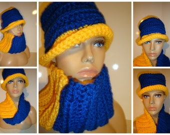 Blue and Gold Hat matching scarf -Crochet Hat - Sigma Gamma Rho Hat Set - Crochet Cap - Custom colors available -Sorority colors