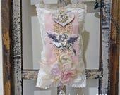 Valentine mixed media ornament - doorknob pillow hanger - NO098