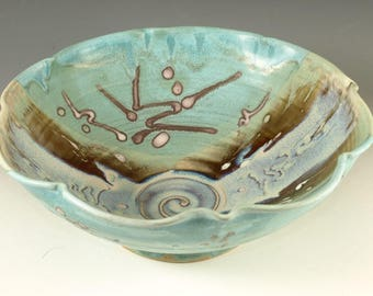 Serving Bowl ceramic bowl turquoise