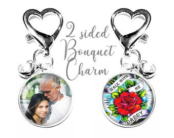 Personalized Memorial Charm, Wedding Bouquet Charm,  Lucky Six Pence, Gift for the Bride, Brooch, Custom, Bridal Bouquet, Photo Memory Charm