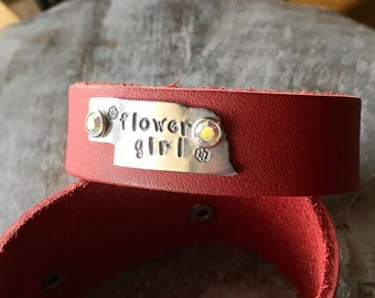 CLEARANCE - Soft Leather Cuff-Nebraska Flower Girl Cuff-Nebraska wedding-Nebraska flower girl-Flower girl Nebraska