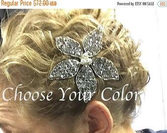 20% OFF Swarovski Crystal Silver Large Flower Hairpin Bridal Wedding Hair Accessory Hair Pin Clip Floral Formal Prom Jewelry Rhinestone