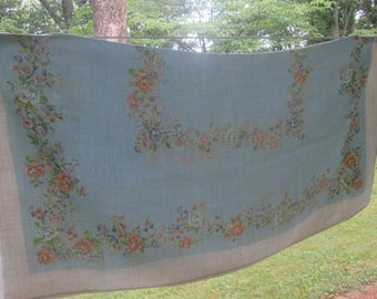Square Vintage Linen Tablecloth - Pale Blue Floral Tablecloth - Pink Peach Lavender Yellow White Green Floral