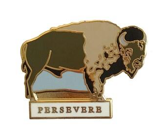 Enamel Pin - Bison - Persevere - Natural Values - Ryan Berkley Illustration - Pin - Americana - Cloisonne - Buffalo