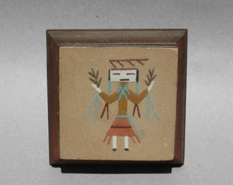 Vintage Navajo Sand Painting on Wooden Easel Ceremonial Dancer 1970s Native American Indian Art