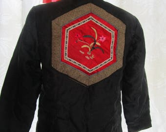sz 38 Chinese Puffer Jacket Coat Frogs Black Satin Bamboo Jacquard Brocade w/ Embroidery