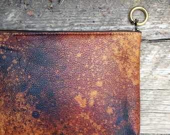 rusted gold soft leather clutch