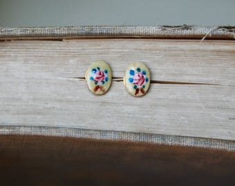 Dainty flower studs,enamel flower post earrings,oval studs,tiny earrings,minimalist earrings.