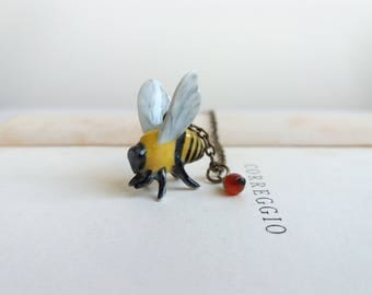 Bee ceramic charm necklace - beautiful bumble bee with carnelian on brass - gift for gardener