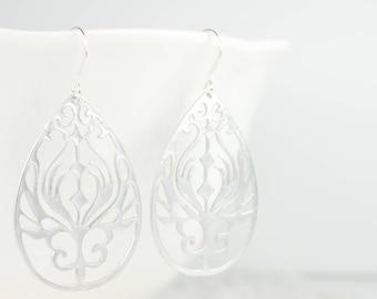 Large Boho Silver Teardrop Earrings, Silver Earrings, Teardrop Earrings, Silver Dangle Earrings, Teardrop Drop Silver Earrings