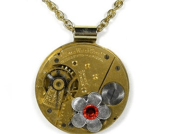 Steampunk Jewelry Necklace ILLINOIS Gold Pocket Watch Silver Flower, Crystal Wife, Girlfriend, VALENTINE Gift, READY To SHiP - by edmdesigns