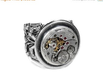 Steampunk Jewelry, Steampunk Ring, Vintage WALTHAM Watch Movement, Silver Filigree Band, Mens Womens Ring GORGEOUS! - Jewelry by edmdesigns