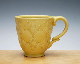 Buttercup yellow mug, Victorian modern stamped cup