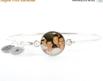SUMMER SALE Custom Photo Bangle Bracelet + 2 Initial Sterling Charms