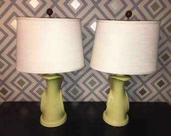 Mid-Century Lamps - VINTAGE Pair of Lime Green Swirl Design Pottery Lamps New Shades Wiring Finials - Free U.S. Shipping!