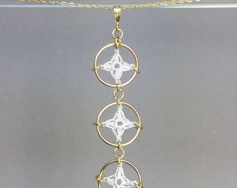 Spangles, white silk necklace, 14K gold-filled