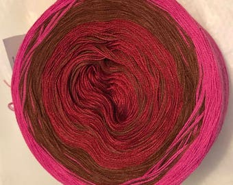 3-ply gradient tied cotton 100g light fingering Rosewood v.1