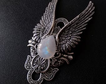 Clothing gift Rainbow Moonstone Necklace witchy Jewelry Large Silver Pendant Angel Jewelry for Women// Statement girlfriend GIFT