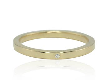 Wedding Band, 2mm wide 14kt Yellow Gold Woman's Band With Bezel Set Diamond - LS2470
