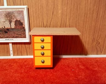 1960's Vintage Lundby Orange Countertop with drawers