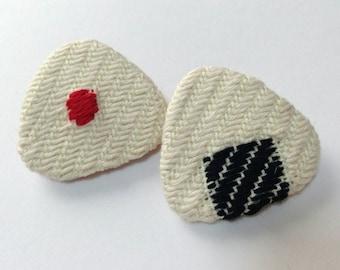 Embroidery Onigiri brooch , Japanese  Kogin embroidered brooch , hand stitched accessory, Onigiri accessory