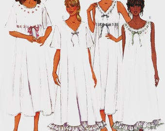 Misses Easy Loose Fitting Pullover Nightgown Neck and Sleeve Variations Sewing Pattern Butterick 3928 Size XS - M